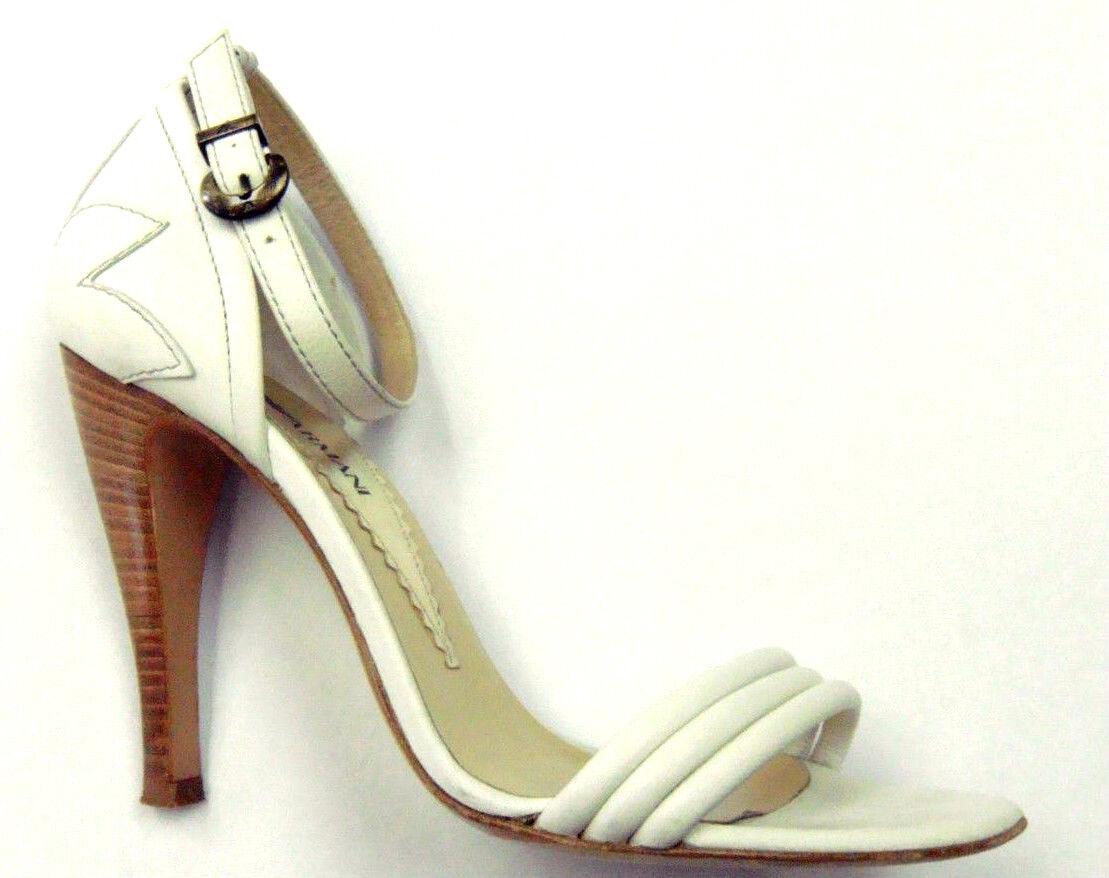 Emporio Armani  Weiß Leder Ankle Ankle Leder Strap Heels Größe 36/6 941f6e
