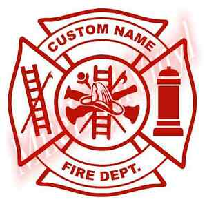 Custom-Fire-Dept-Maltese-Cross-Vinyl-Decal-Sticker-Window-Glass