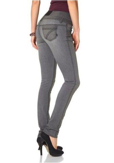 Arizona High Waist Stretch Jeans K-Gr.17-22 NEU DaMänner Slim Grau Hose Skinny L30