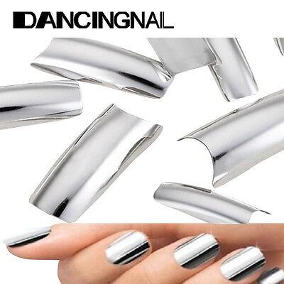 100 Metallic Shiny SILVER Color Acrylic UV Gel French False Nail Art Design Tips