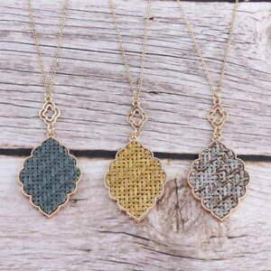 Raffia-Filigree-Moroccan-Quatrefoil-Floral-Pendant-Long-Necklace-Women-Jewelry