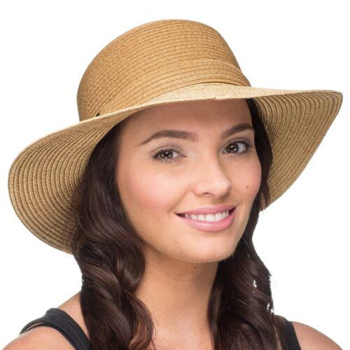 Para mujeres elegante trenzado ligero Sol Sombrero con ajuste trenzado