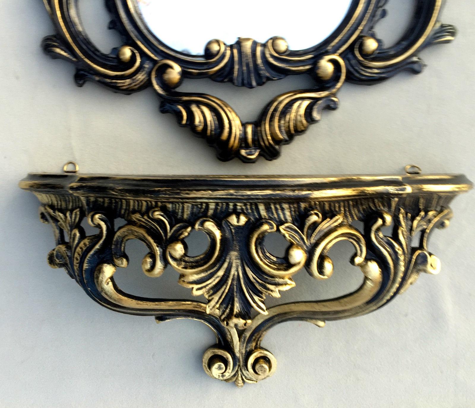 Consola de Parojo Barroco con Espejo Antiguo Negro y oro Baño 50X76