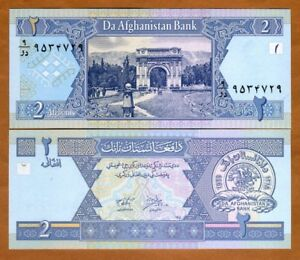 Afghanistan 2 Afghanis 2002 P65 @ Crisp UNC World Paper Money