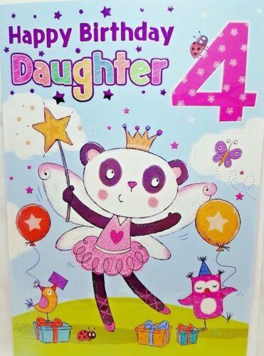 DAUGHTER 4th BIRTHDAY CARD AGE 4 BRIGHT FUN DESIGN ~ QUALITY CARD /& NICE VERSE