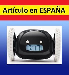 DESPERTADOR-digital-LCD-snooze-alarma-clock-reloj-esconde-RUEDAS-SALE-CORRIENDO