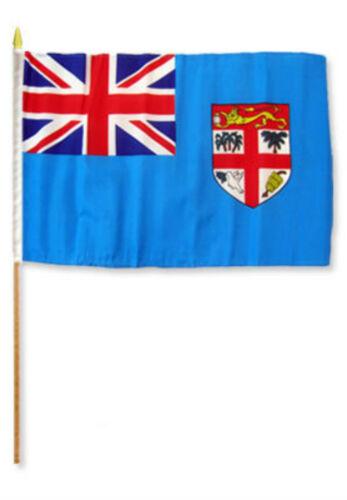 """12x18 12/""""x18/"""" Fiji Stick Flag wood staff"""
