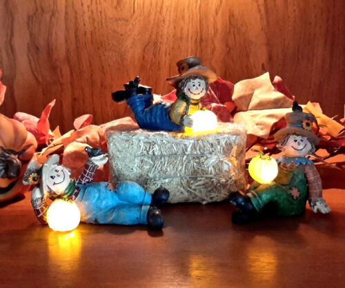 4-Pc Autumn Scarecrow Set Lighted Pumpkin w// Hay Fall Harvest Table Figurines