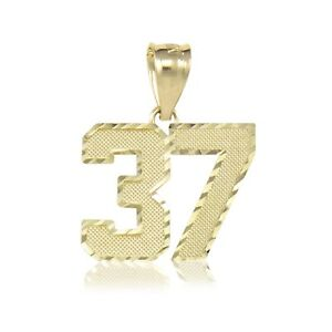 14K Solid Yellow Gold Custom Old English Number Pendant 0-9 Necklace Charm