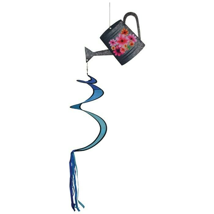 """40"""" Long, Flowers WATERING CAN hanging Wind TWISTER garden décor, ITB-5081"""