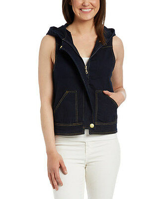 SG-65887 NWT Dark Indigo Stretch Denim Vest with Hoodie Women size S to 3XL