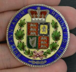 1844-Young-Victorian-Solid-Silver-amp-Enamel-Crown-Coin-Brooch