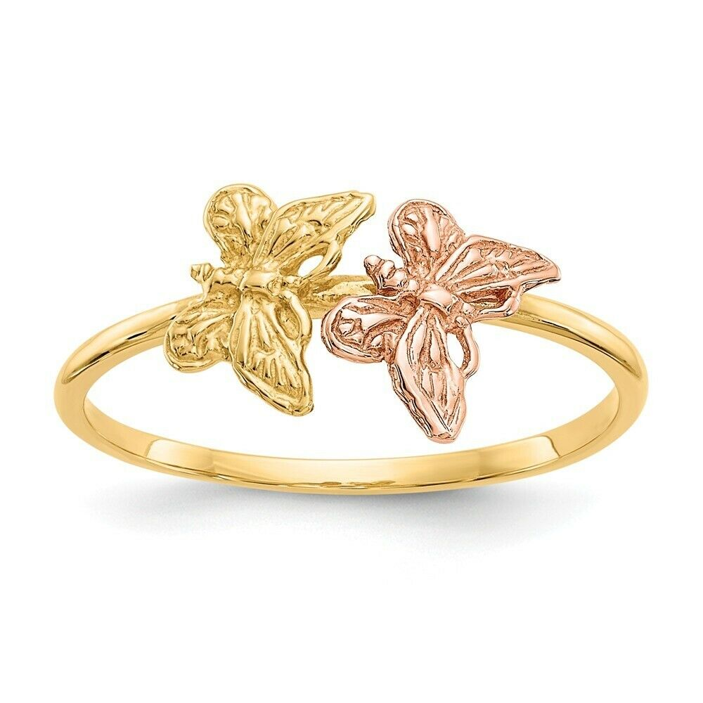 Genuine 14k Two Tone gold Polished Butterfly Ring  1.21 gr