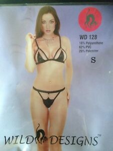 6fe36233eebc BRAND NEW - BLACK LEATHER LOOK BRA   THONG SET - WD128 - BLACK ...
