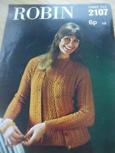 Objectif Vintage Rare Robin 1960 S 70 S 3 Plis Tricot Motif Femmes Pretty Twin Set 32 38-afficher Le Titre D'origine