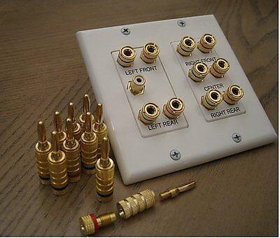 5.1 Surround Sound Speaker Wall Plate + 10 Premium Banana Speaker Plug (5 Pair)
