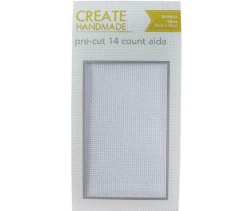 White Cross Stitch Embroidery Aida Fabric 14 Count Cloth 36cm x 45cm Pre Cut NEW