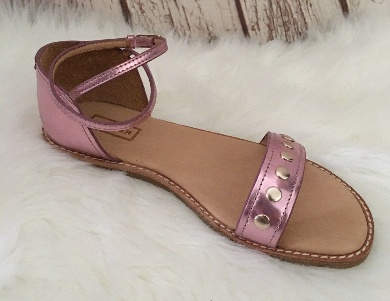 NEW Hunter Original Metallic Leder Studded Sandales SZ 9 Metallic Original Old Rose 844b1a