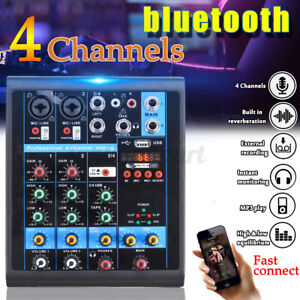 Mischpult-4Kanal-bluetooth-USB-Mini-Audio-Mixer-Record-DJ-Konsole-Verstaerker-1X