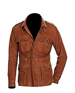 40f1371ad38 Image is loading men-fashion-4-pocket-suede-leather-jacket