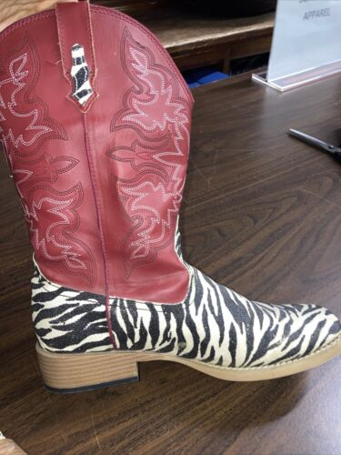 Roper Red Zebra Glitter Boots Size Womens 10