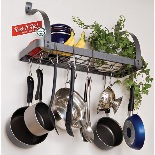 Pots And Pans Rack Cookware Hanger Wall Mount Shelf Hanging Pot Organizer