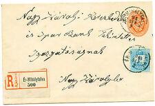 1895 Hungary/Transylvania rare uprated Registered stationery to Nagy-Karoly