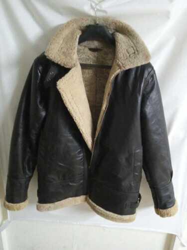 Men/'s B3 Flying Aviator Brown Bomber Real FUR Sheepskin Leather Jacket