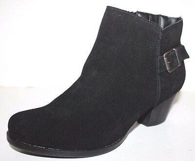 GH Bass NIB Women 9.5 M Ceri Black Suede Leather Heels Ankle Boots w/ Buckle