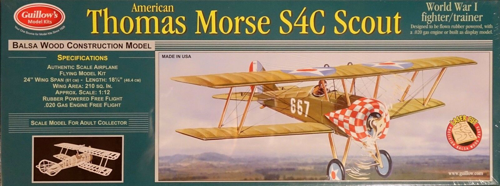 Guillow's Thomas Morse Scout 24  Laser Cut Scale Rubber Powerosso Flying Model 201