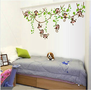 Removable-Jungle-Monkey-Tree-Wall-Stickers-PVC-Decal-Baby-Home-Room-Decor-DIY-AU