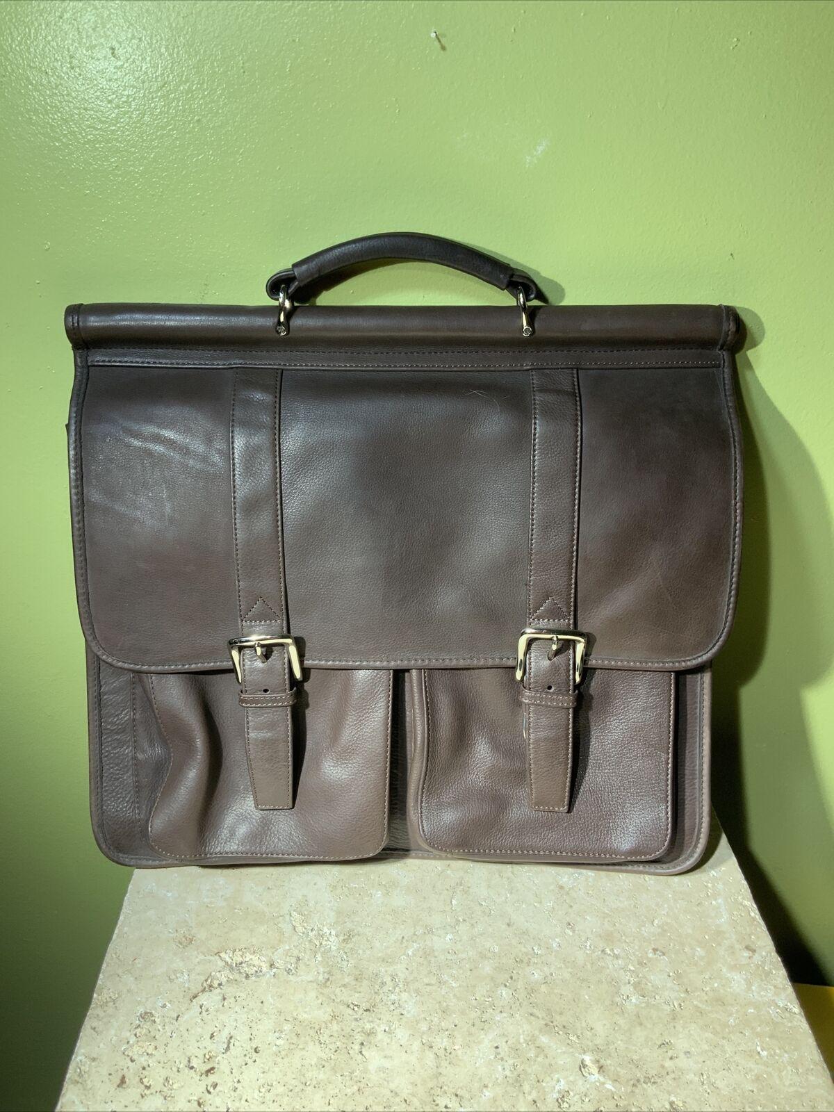 Wilsons Leather Brown Soft Portfolio Distressed Briefcase Messenger Bag