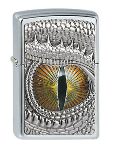 ZIPPO-Feuerzeug-DRAGON-EYE-m-EMBLEM-High-Polished-Chrome-Drachenauge-NEU-OVP
