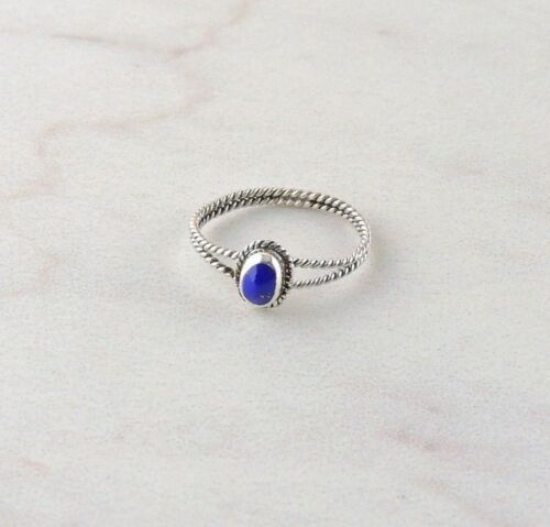 Free Gift Packaging Sterling Silver Lapis Textured Band Ring