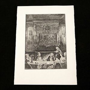 Blank-Card-Invitation-Colonial-Feast-Original-Print-Albert-R-Thayer-1930-NOS