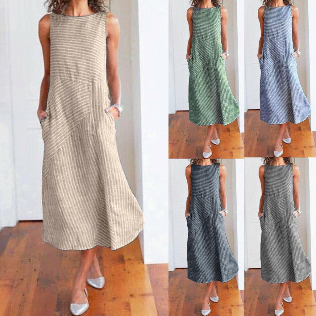 Women Boho Striped Sleeveless O-Neck Cotton Linen Pocket Maxi Long Dress New CA