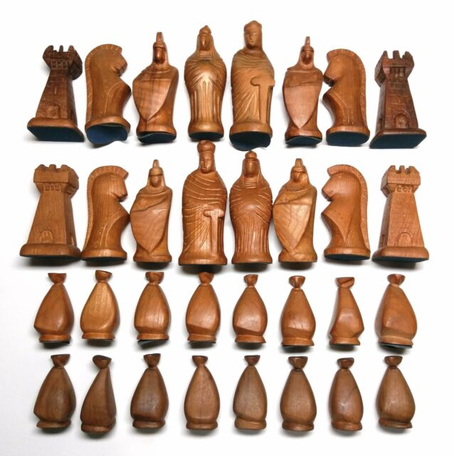"""Handmade, Wood Carved Chess pieces. 5"""" king."""