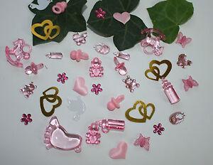 50 stk deko taufe geburt streudeko tischdeko schnuller rosa ebay. Black Bedroom Furniture Sets. Home Design Ideas