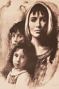"Sandu Liberman""Mother With Children"" Jewish Signed Artist Proof (Judaica Art)"