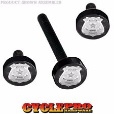 Black Billet Fairing Windshield Hardware Kit 14-Up Harley Touring - Police Badge