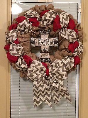 "Beautiful Handmade Quality Burlap Cross Wreath Red Chevron Ribbon Home Decor 21"""