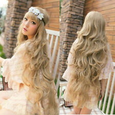 100cm Long Wavy Wig Hair Lolita Wig Cosplay Gold Blonde Fashion Lady FUll Wig