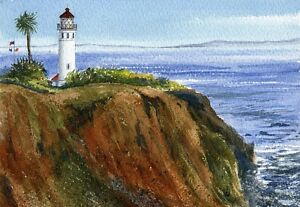 Point Vicente Lighthouse Palos Verdes, California. Watercolor Notecards