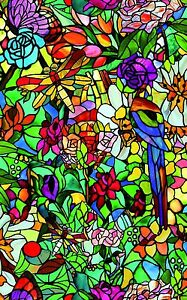 STAINED GLASS  DRAGONFLY GARDEN COLOURFUL FABLON STICKY BACK PLASTIC 45CM WIDE