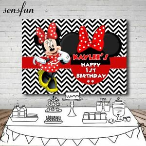 Minnie Mouse Polka Dots Girls Birthday Party Backdrop Custom Made
