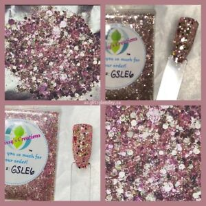 LIMITED-EDITION-Rose-Gold-Diamond-Chunky-Nail-Art-Glitter-Mix-Acrylic-Gel-NP