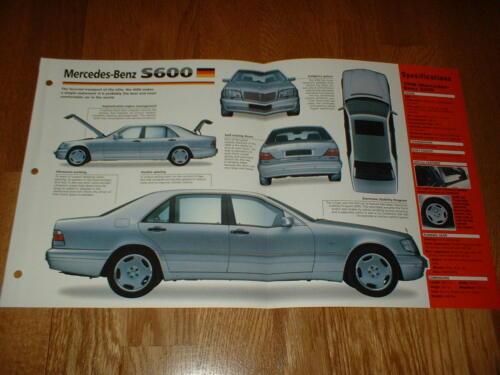 ★★1998 MERCEDES-BENZ S600 ORIGINAL IMP BROCHURE 98 91-99 S-600 INTO PHOTO★★