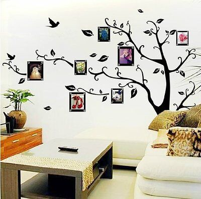 Home Room Wall Sticker Decor Photo Frame Black Tree Removable Decal Vinyl Art