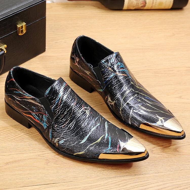 Graffiti Round Toe Slip On Boat Shoes Dress Formal Business Uomo Wedding Shoes