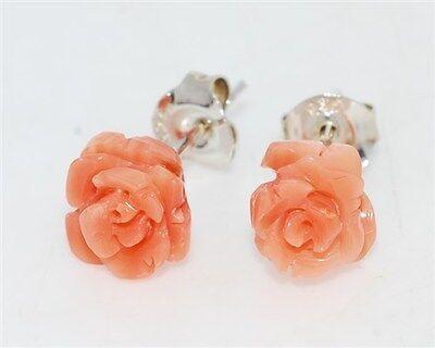 Genuine Pink Coral carved Flower Silver Earrings
